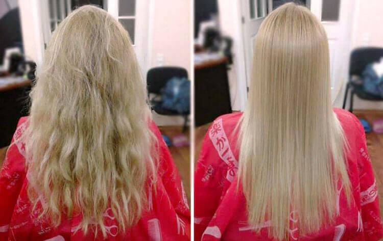 efekt prostowych włosów po keratynie encanto